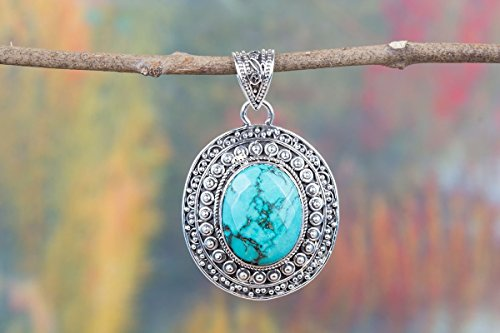 Oval Turquoise Pendant - Natural Turquoise Pendant, 925 Sterling Silver, Oval Shape Pendant, Designer Pendant, Healing Pendant, Birthstone Pendant, Charm Pendant, Boho Pendant