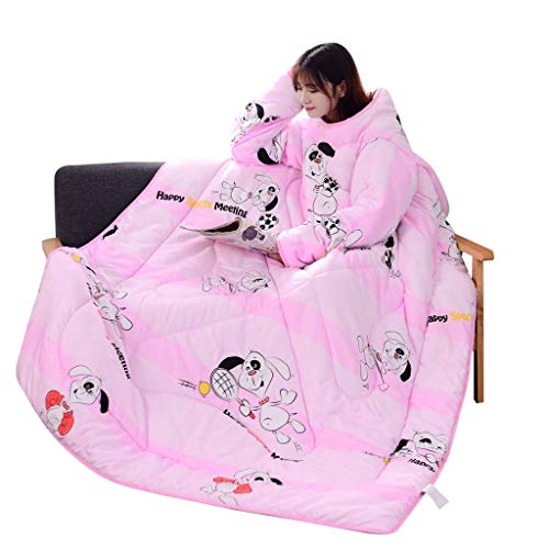47.2x62.9 Inch Winter Removable Washable Lazy Quilt Blankets Adult/Women/Men Functional Thick Warm Wearable Snuggle Throw Wrap Robe Blanket with Zipper Home/Sofa (A) ()
