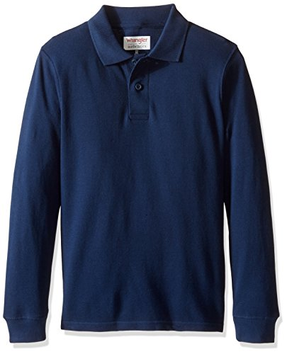 Wrangler Authentics Big Boys' Long Sleeve Polo Shirt, Navy, Large