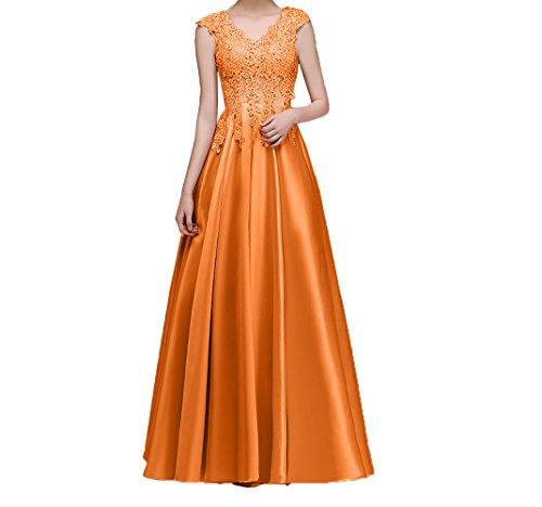 Orange Damen Abendkleider Ballkleider lang linie Spitze Satin Promkleider Festlich Abschlussballkleider Rock Charmant A FwxHq7q