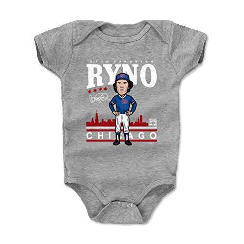 500 LEVEL Ryne Sandberg Chicago Cubs Baby Clothes, Onesie, Creeper, Bodysuit (3-6 Months, Heather Gray) - Ryne Sandberg Toon WHT