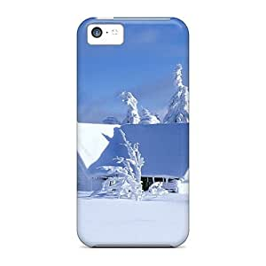 LJF phone case Hot Tpu Cover Case For Iphone/ 5c Case Cover Skin - House Covered In Snow