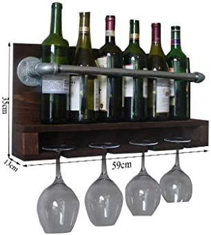 NXYJD Vino Rack Madera rústica Pared Montada Vino Bastidores, Metal Que cuelga Estante del Vino, Inicio Sala de Estar Cocina Decoración Estante de exhibición