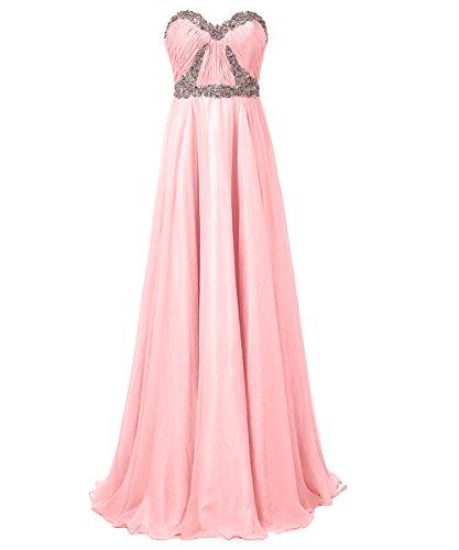 Dresstells®Vestido De Fiesta Largo De Gasa Elegante Escote Corazón Para Boda Rosa