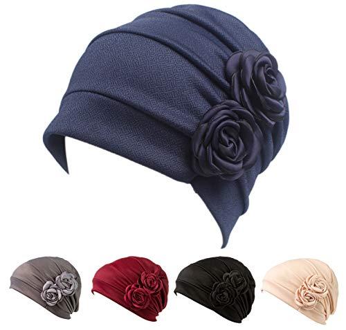 DancMolly Chemo Turban Cancer Ruffle Headband Beanie Cap Muslim Scarf Ethnic Cloth (Navy Blue)