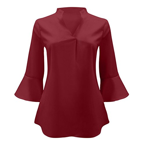 Vin et Chemisiers Femme Manche Solide Weant Shirt Chemise Couleur Blouse Rouge Femme Longue Tops Blouse Col Shirt Tee V Casual Grande Taille Femme Blouses HBnwx
