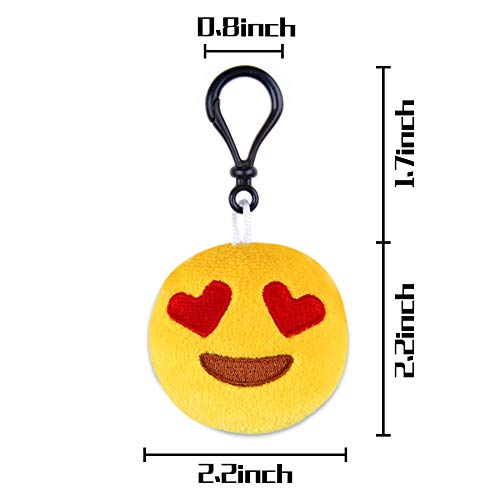 LovesTown Mini Emoji Keychain Set,80pcs Emoji Party Favors for Kids Emoticon Gifts Toys Birthday Party Supplies Carnival Prizes