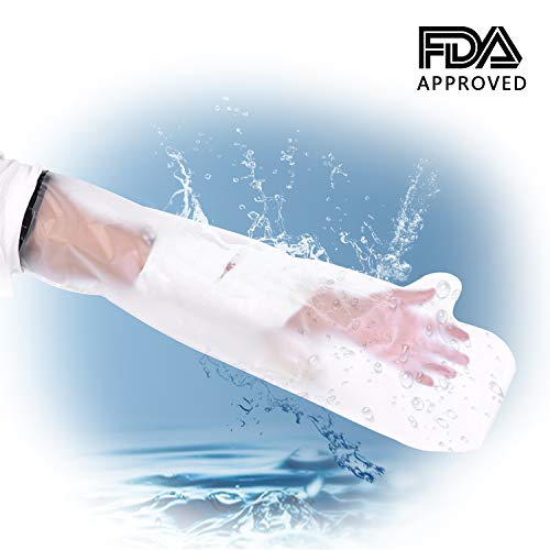OYUNKEY Upgraded Wide Waterproof Arm Cast Cover Protector for Shower Bath, Keeps Casts Bandages Dry, Durable Reusable Cast Sleeve Bag Cover Adult Full Arm Wound Burn Hands Wrists Fingers Elbow, 25 Inc