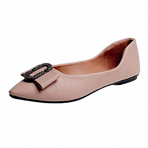 de Zapatos Zapatos Bajo de Mujer de de Zapatos Puntiagudo Punta con de Imitación Bajos Pedal Goma Zapatos Tacón Zapatos Pez Mujer Metal Arcos Plano Plano Vi Corte Zapatos Arcos Cuero Fondo Perezoso de awXqw8
