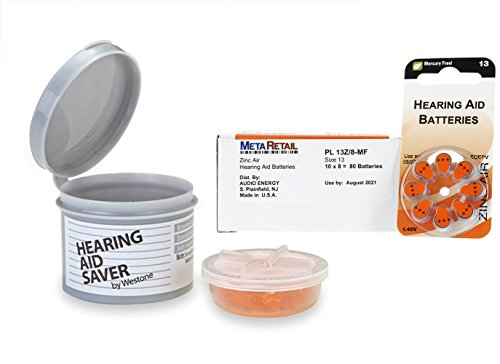 WESTONE Small Hearing Aid Saver and Box of 80 (10 Packs of 8) Hearing Aid Batteries (Size 13)