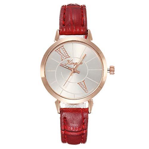 Clearance Sale!DEESEE(TM)Fashion Diagonal Roman Digital Scale Rose Gold Shell Belt Quartz Female Watch (A)