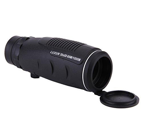 (LU2000 30X50 Classic Telescopic Mini Monocular Telescope Plastic Mono Spy Spotting Scope with Carrying Leather Bag Protective Lid Lens Cover )