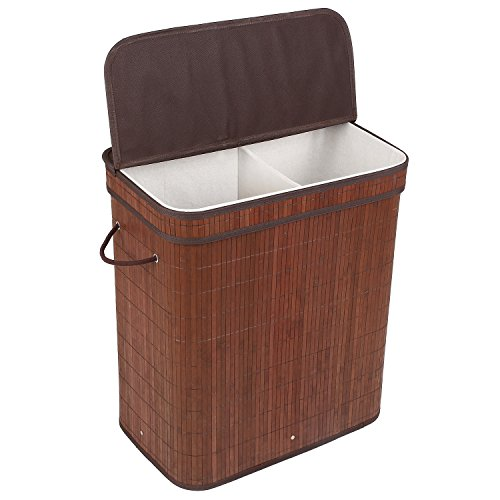 HOMFA Bamboo Laundry Hamper with Cloth Liner and Removable Cover Collapsible Square 2 Sections Storage Basket 100L Coffee