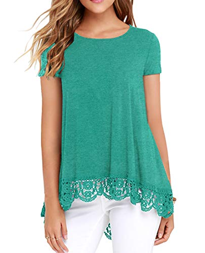 - QIXING Women's Tops Short Sleeve Lace Trim O-Neck A-Line Tunic Blouse VG Blue Green-XL