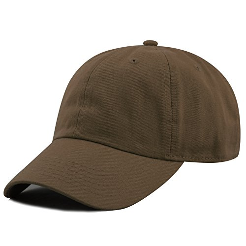 THE HAT DEPOT 300N Washed Low Profile Cotton and Denim Baseball Cap (Dark Brown)