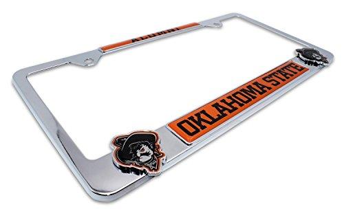 Premium All Metal NCAA OSU Cowboys Alumni License Plate Frame w/Dual 3D Logos (Oklahoma State) ()