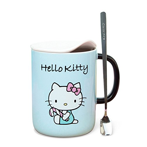 YOURNELO Cartoon Cute Hello Kitty Cat Smooth Ceramic Coffee Milk Tea Water Cup Mug with Lid Gift Pink (Blue)