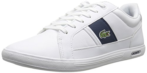 Sneakers Lace Lacoste (Lacoste Men's Europa Lcr3 SPM Fashion Sneaker, White/Dark Blue, 9.5 M US)