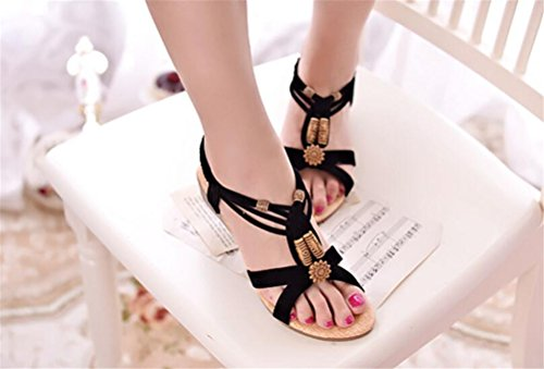 Platform Casual Heel Mid Bohemian Wedges Black Gladiator Sandals Womens 641AP