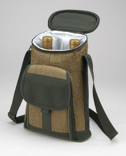 - Picnic at Ascot ECO 2 Bottle Tote and Cheese Set, Natural/Forest Green