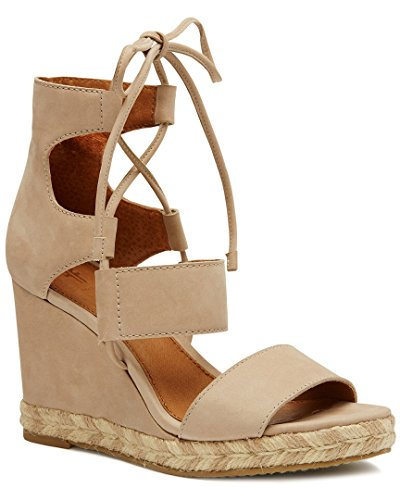 FRYE Women's Roberta Ghillie Wedge Sandal, Taupe, 8.5 M US by FRYE