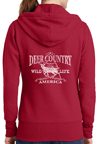 Womens Deer Country Full Zip Hoodie, Red, 4X