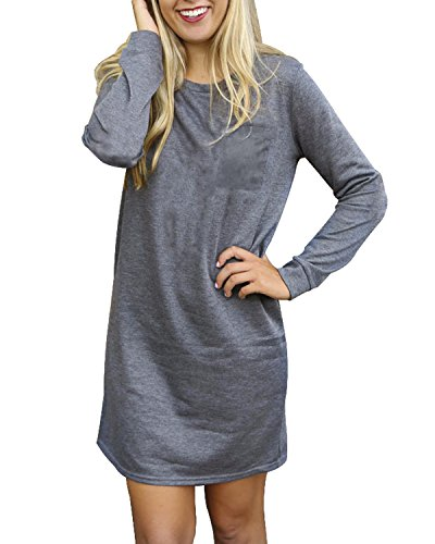 SUNNYME Womens Mini T Shirt Dress Long Sleeve Crew Neck Casual Loose Tunic Dresses Pocket