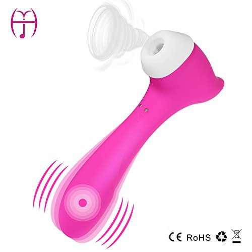Sucker & Vibrator, Waterproof Rechargeable G Spot & Nipple & Clitoris Stimulator, 11 Powerful Vibrating Modes Sex Toy (Pink) by YHJ