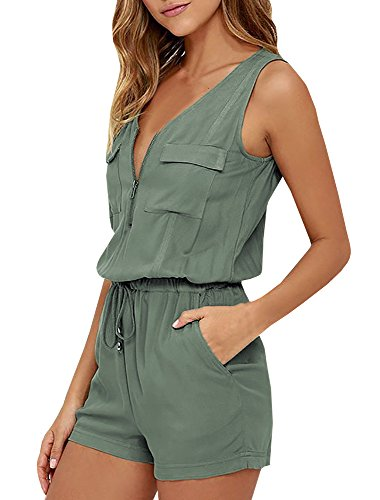 YOMISOY Womens Sexy Tank Rompers Summer Sleeveless Zipper V Neck Short Jumpsuits With Pockets