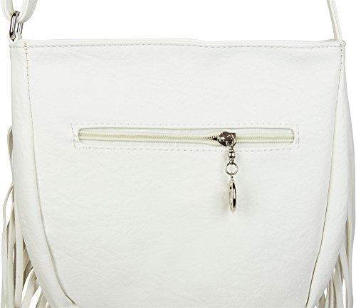 cool avec styleBREAKER Blanc franges bandoulière couleur sac femme sac sac bandoulière Blanc à 02012113 ethnique et style à wqtw8F1Wr