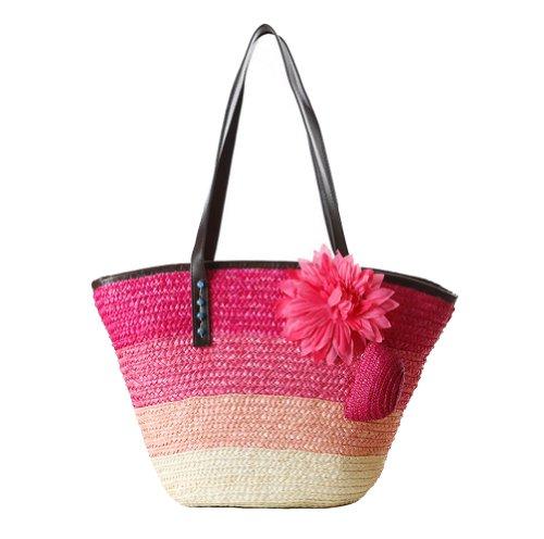 Tonwhar Gradient Color Stripes Woven Straw Shoulder Bag Flower Straw Beach Tote