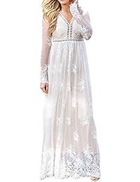 Women's Vintage Chiffon Long Sleeve Wedding Bridesmaid Summer Beach Maxi Long Dress
