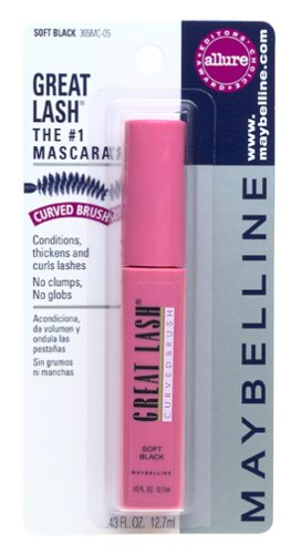 Maybelline Great Lash Mascara, Curved Brush, Soft Black (6 (Great Lash Curved Brush Washable)