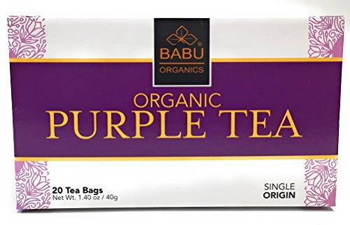 Rare Organic PURPLE TEA by Babu Organics - 20 Tea Bags (20 Cups) - Hand-Picked from a Single ESTATE in East Africa, Refreshing Super Detox Tea with Natural ANTI-OXIDANTS and many health benefits (Tea Refreshing)