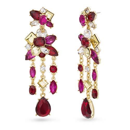 (Catherine Malandrino Multi-Drop Link Yellow Gold -Tone Dangle Chandelier Earrings for Women (Red/Pink))