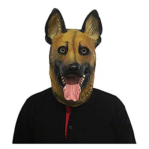 Novelty Halloween Costume Party Latex Dog Head Mask (German Shepherd) Brown ()