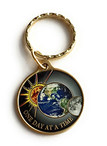 One Day At A Time Universe Keychain Sun Moon Earth Medallion Color Serenity Prayer Chip