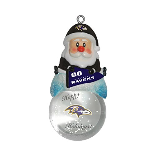 NFL Baltimore Ravens Snow Globe Ornament, Silver, 1.5