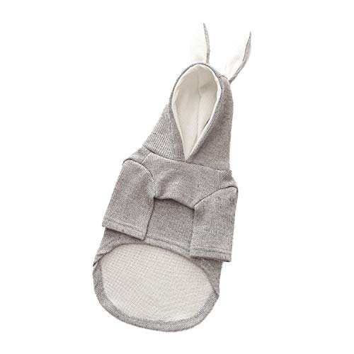 Fanatical-Night Winter Warm Pet Clothes for Small Dogs Sweet Rabbit Ears Shape Puppy Cat Clothing Costume,Gray,L ()