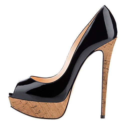 Joogo Women Peep Toe Pumps Platform Thin Heel Stiletto Sandals Wedding High Heels Slip On Dress Shoes Black Patch Wood Size 13