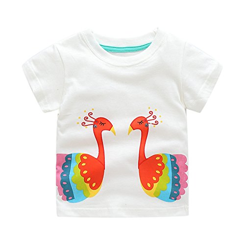 Toddler Boys Girls T-shirts Tops Organic Short-sleeved Cute Animals Prints Embroidery Unisex 2t-7t (5T, White1) by KiKi Shop