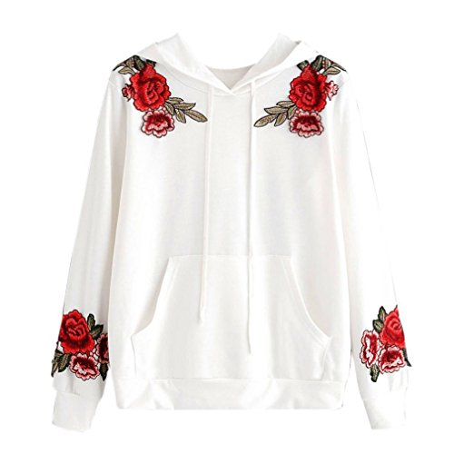 Women Hoodie Sweatshirt Rose Embroidery Applique, Keepfit Casual Loose Pullover Tops Blouse (L, White) -