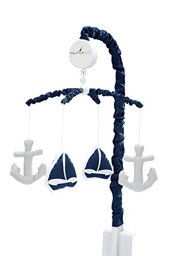 Nautica Kids Nursery Separates Musical Mobile Sailboats and Anchors, Navy and Grey
