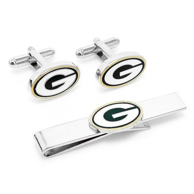 NFL Cufflinks & Tie Bar Gift Set NFL Team: Green Bay Packers by Cufflinks