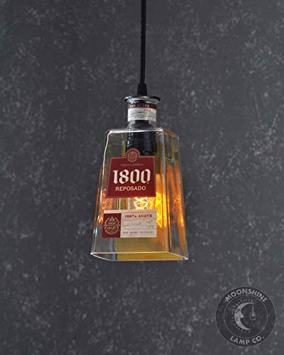 1800 Tequila Reposado - Recycled 1800 Tequila Bottle Pendant Lamp - Bar Lighting - Rustic Decor