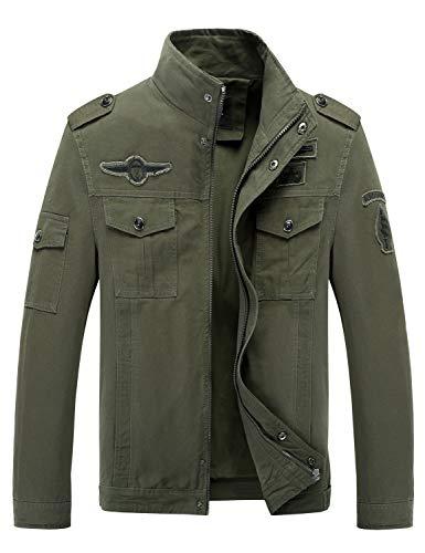 (Lega Men's Casual Cotton Coat Bomber Jacket Windbreaker Jacket Army)