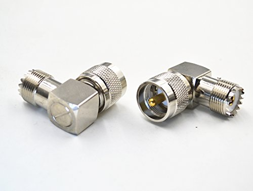 2pcs UHF PL-259 Male Plug to UHF SO-239 Female Right Angle, High Value Pure Brass UHF Male PL-259 Plug to UHF Female SO-239 Socket Jack Right Angle Adapter Connector
