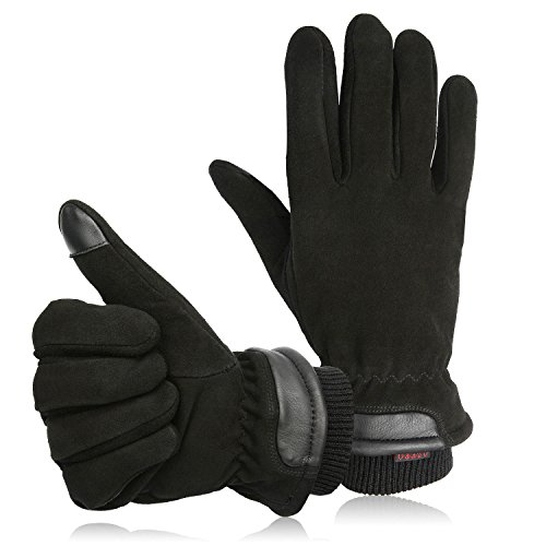 OZERO Winter Gloves, -20°F Thermal Leather Texting Glove with Sensitive Touchscreen Design - Genuine Deerskin Suede with Windproof Insulated Flannel - Keep Warm in Cold Weather - Black (S/M/L/XL)