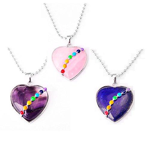 Zhepin 3pcs 7 Chakra Womens Necklace Set Pink Purple Blue Semi Precious Stone Heart Shape Pendant (Blue Semi Precious Stone)