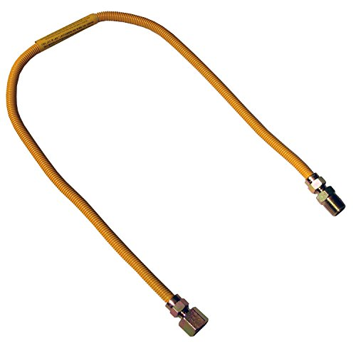 LASCO 10-1209 Flexible Coated Gas Appliance Supply Line, 36-Inch, 3/8-Inch OD Connector with 1/2-Inch MIP X 1/2-Inch FIP Fittings